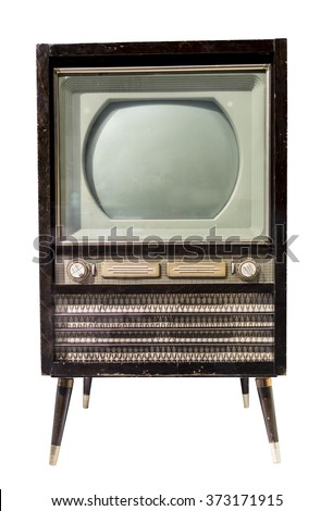 TV mid- 20th century. Is isolated on white - stock photo