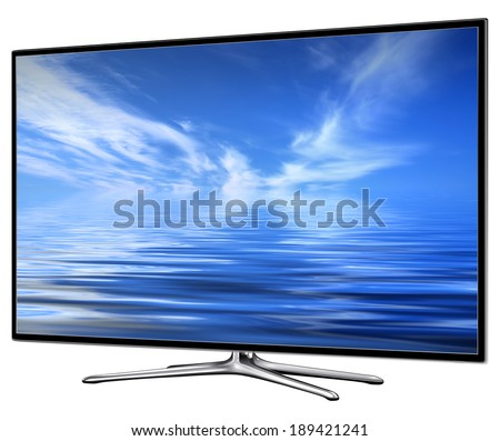 TV, modern lcd, led, isolated with clouds on screen. - stock photo