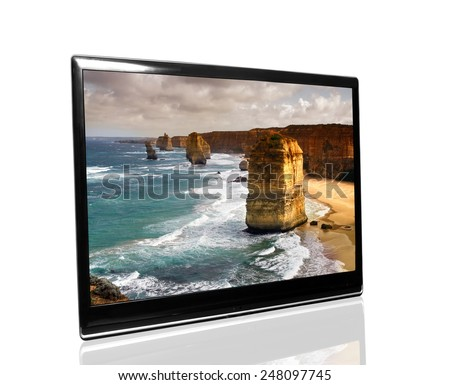 tv monitor over white surface with 12 apostles - stock photo