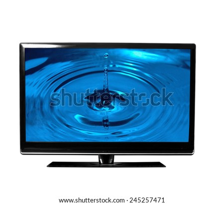 tv monitor over white surface with drops - stock photo