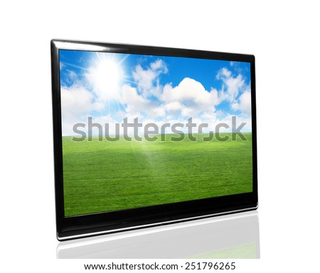 tv monitor over white surface with nature - stock photo