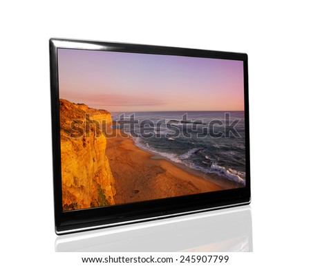 tv monitor over white surface with ocean - stock photo