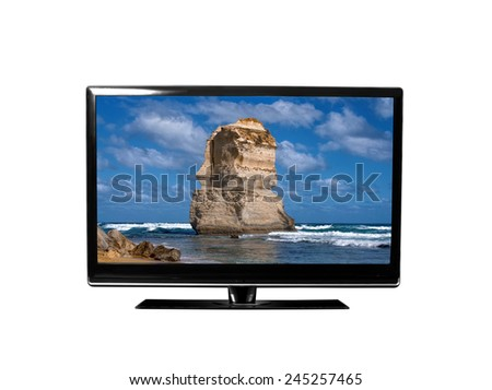 tv monitor with 12 apostles - stock photo