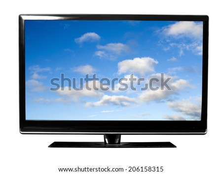 tv monitor with sky view - stock photo