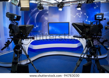 TV NEWS studio with camera and lights - stock photo