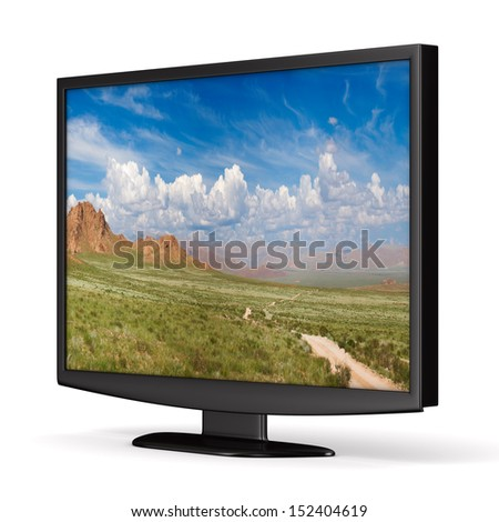 TV on white background. Isolated 3D image - stock photo