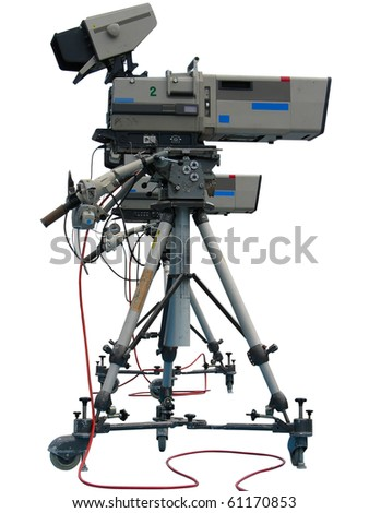 TV Professional studio digital video camera isolated on white background - stock photo