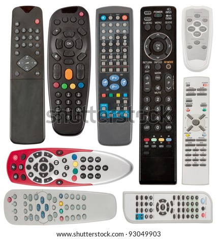 TV remote control devices isolated on white background. - stock photo
