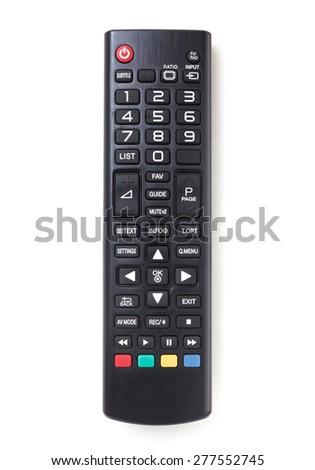 TV remote control isolated on white. - stock photo