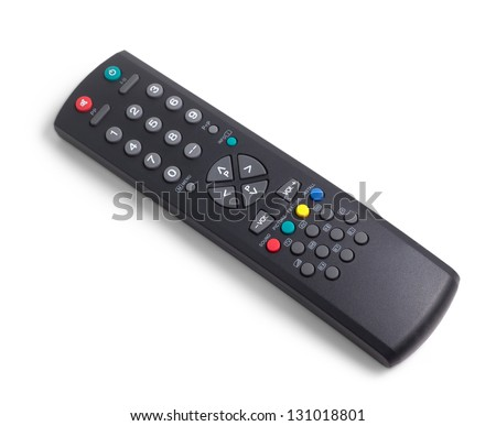 tv remote control keypad black on white isolated - stock photo