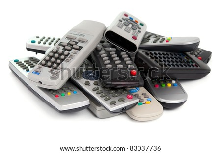 TV remote control on a white background - stock photo