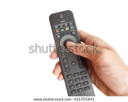 Tv remote control on white background.