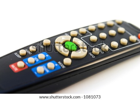 TV Remote Control With Green ok Button - stock photo