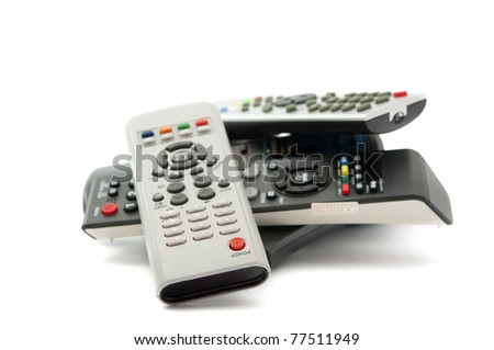 TV remote on a white background - stock photo