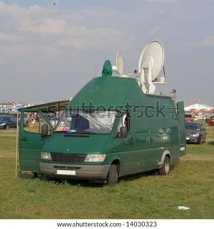 TV remote pickup truck - stock photo