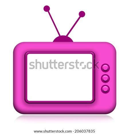 TV retro with empty screen - stock photo