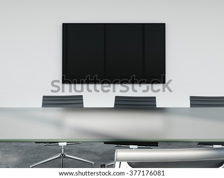 TV screen on wall of conference room. 3d rendering