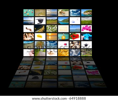 Tv screen showing pictures, all used images are my property - stock photo