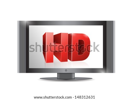 tv screen. . with a hd screen. illustration design over a white