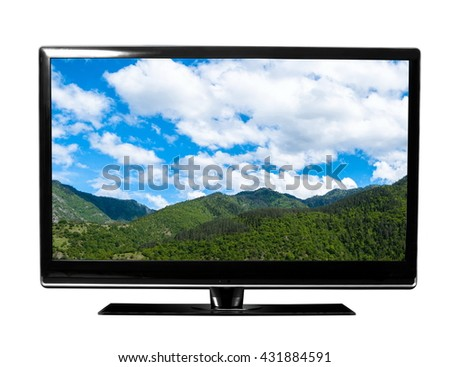 tv screen with landscape - stock photo