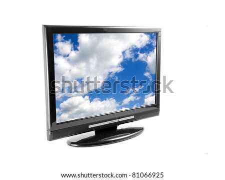 Tv set isolated on white, with clouds on screen - stock photo