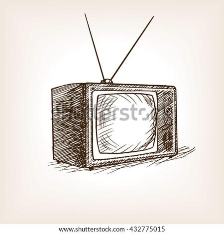tv drawing. tv set sketch style raster illustration old hand drawn engraving imitation tv drawing