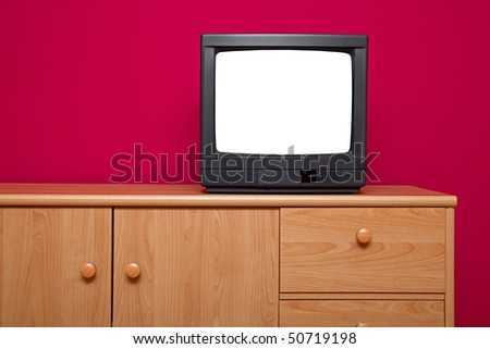 TV set with blank white screen - stock photo