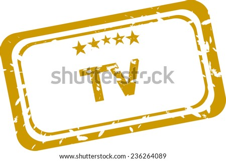 tv stamp isolated on white background - stock photo