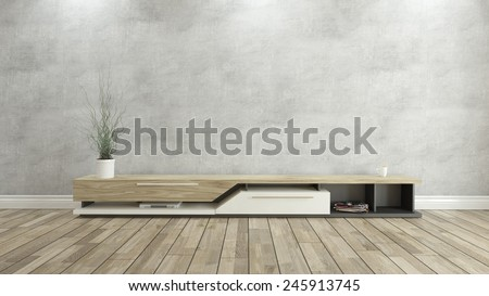 tv stand with concrete wall 3D rendering  - stock photo