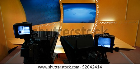 TV studio for news is prepared for the production and shooting - stock photo