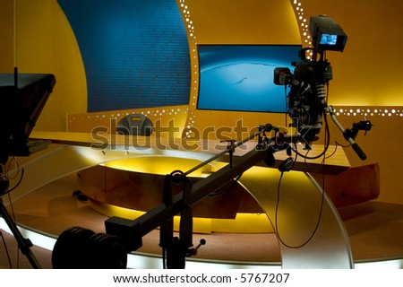 TV studio for news is prepared for the production and shooting