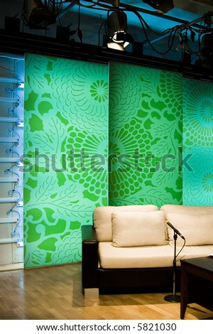 TV studio is prepared for the production and shooting - stock photo