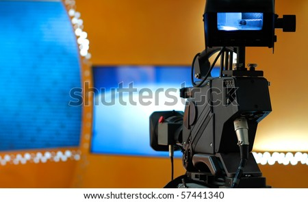 TV studio with camera - Prepared for the production and shooting - stock photo