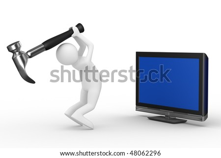 TV technical service. Isolated 3D image - stock photo