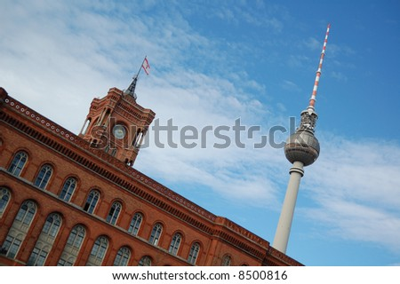 tv-tower and the city hall in berlin