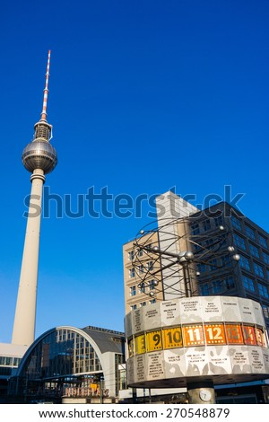 Tv tower and world clock at Alexanderplatz train station, Berlin, Germany - stock photo