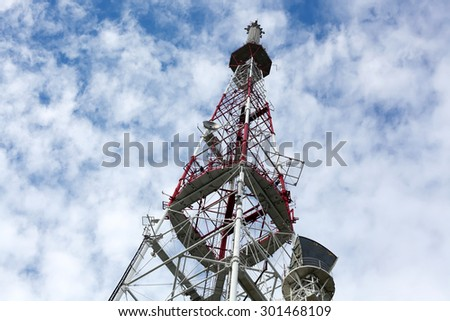TV tower on sky background - stock photo