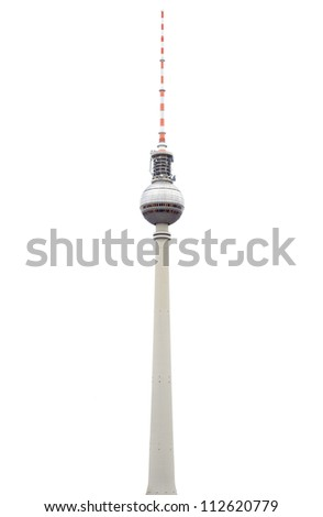 Tv tower or Fersehturm in Berlin isolated on white, clipping path included - stock photo
