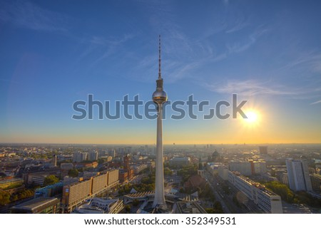 TV Tower. photo taken during sunset at the roof of the hotel Park Inn, Radisson Berlin Alexanderplatz, Berlin Mitte, Germany. - stock photo