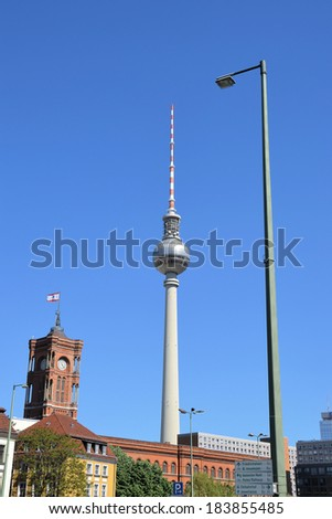 TV Tower, Red Town Hall and a street lamp in Berlin, Germany