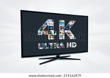 TV ultra HD. 4K television resolution technology - stock photo