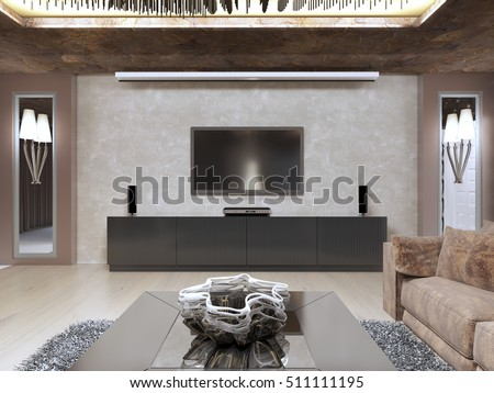TV Unit In Luxury Living Room Designed In Modern Style. The Design Is Made  In Part 86
