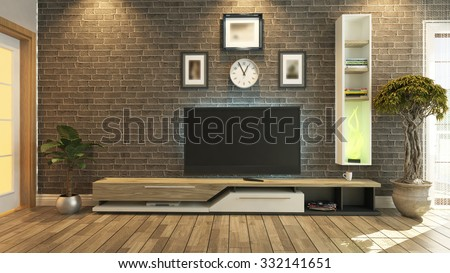 tv unit with black brick wall interior scene 3d rendering - stock photo