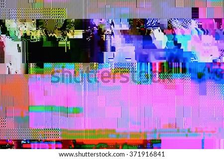 Tv weak signal - photo taken from color tv screen (3:2 aspect ratio) - stock photo