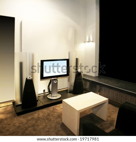 TV with big speakers in living room - stock photo