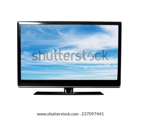 tv with blue sky on white - stock photo