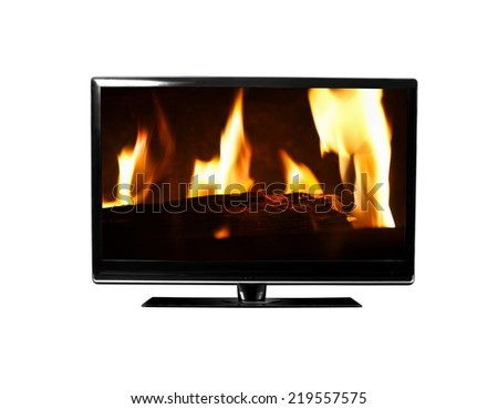 tv with fireplace   - stock photo