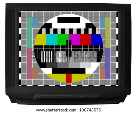 TV with test signal screen isolated on white background - stock photo