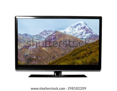 tv with the Georgian landscapes  view - stock photo