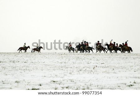TVAROZNA, CZECH REPUBLIC - DECEMBER 3: History fans in military costumes reenact the battle of Austerlitz, which Napoleon won in 1805, on December 3, 2005 near the village of Tvarozna, Czech Repuplic.